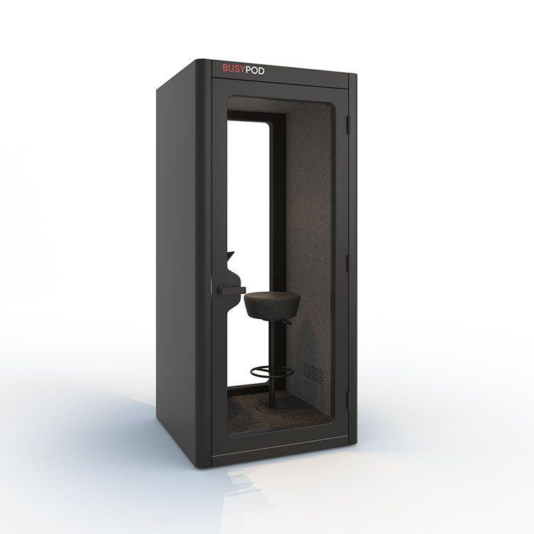 BUSYPOD Phone Booth, Dark Grey sides, Dark Grey Lacquer frame