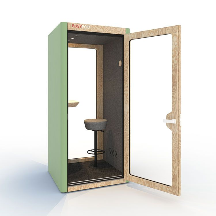 BUSYPOD Phone Booth, Green sides, Pine frame