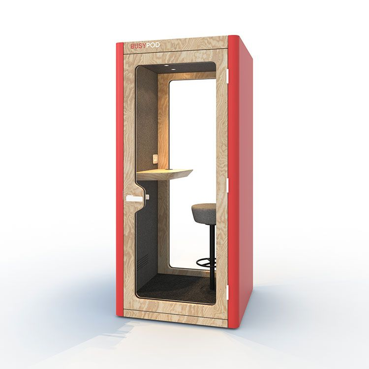 BUSYPOD Phone Booth, Red sides, Pine frame