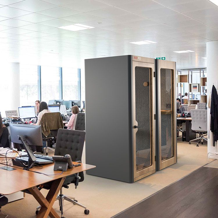 2 BUSYPOD Phone Booth, Grey sides, Oak frame in an office