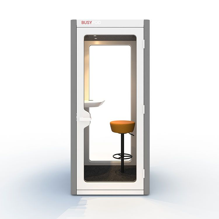 BUSYPOD Phone Booth, Grey sides, White Lacquer frame