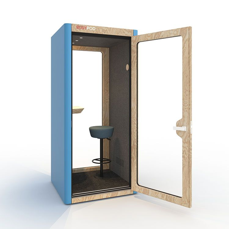BUSYPOD Phone Booth, Blue sides, Pine frame