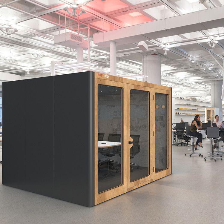 BUSYPOD XLarge, Dark Grey sides, Oak frame in an office