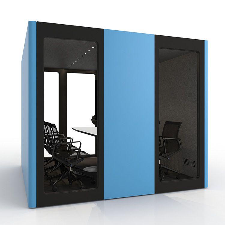 BUSYPOD XLarge back view, Blue sides, Black Lacquer frame