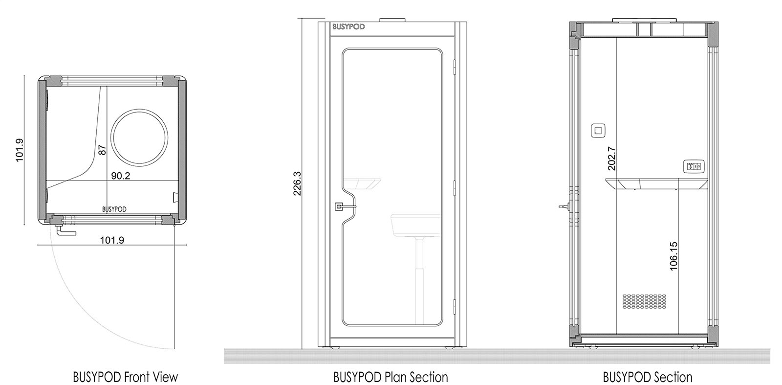 BUSYPOD Phone Booth Diagram