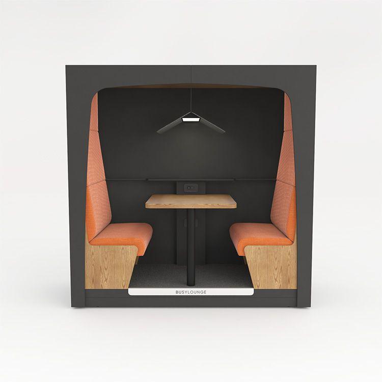 2 person BUSYLOUNGE, Dark Grey sides, Dark Grey Lacquer frame, Orange seats