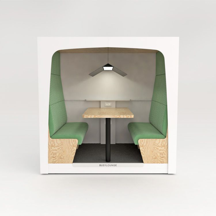 2 person BUSYLOUNGE, White sides, White Lacquer frame, Green seats