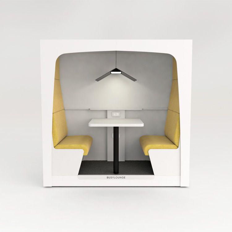 2 person BUSYLOUNGE, White sides, White Lacquer frame, Yellow seats