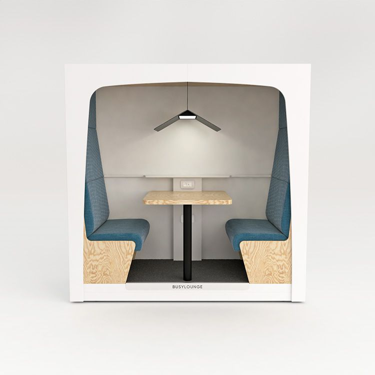2 person BUSYLOUNGE, White sides, White Lacquer frame, Blue seats