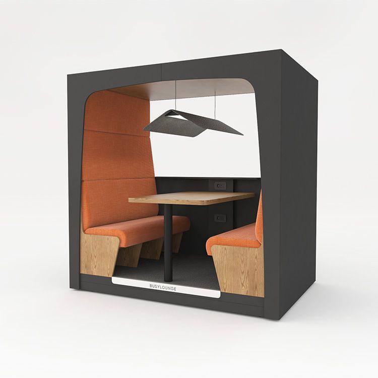 4 person BUSYLOUNGE, Black sides, Black Lacquer frame, Orange seats