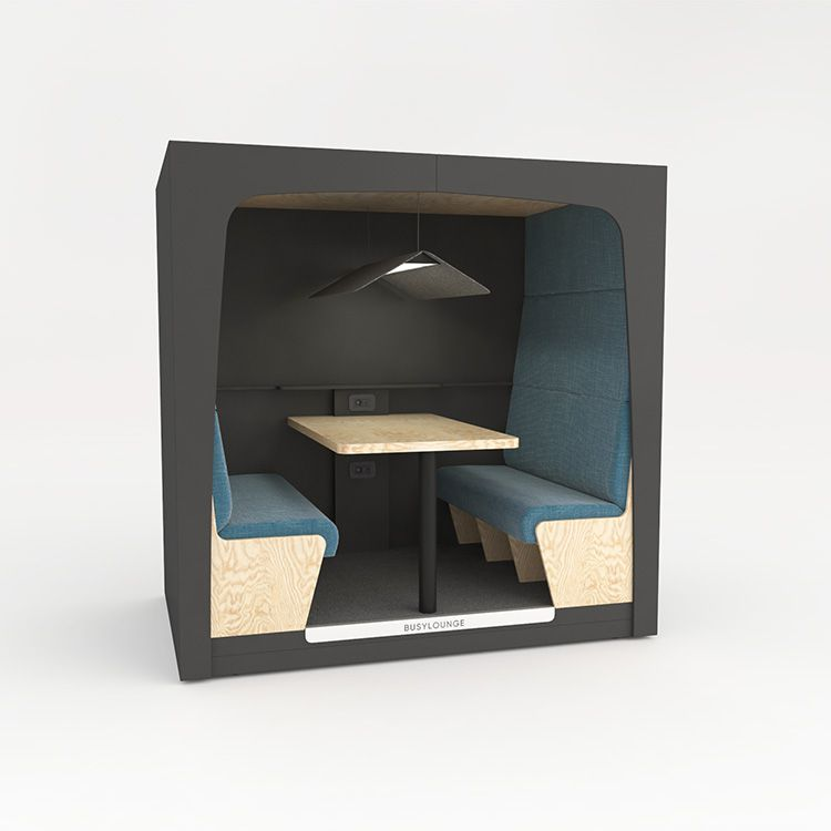 4 person BUSYLOUNGE, Grey sides, Grey Lacquer frame, Blue seats