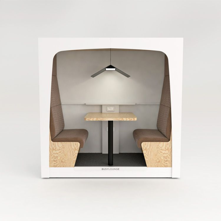 2 person BUSYLOUNGE. White sides, White Lacquer frame, Brown seats