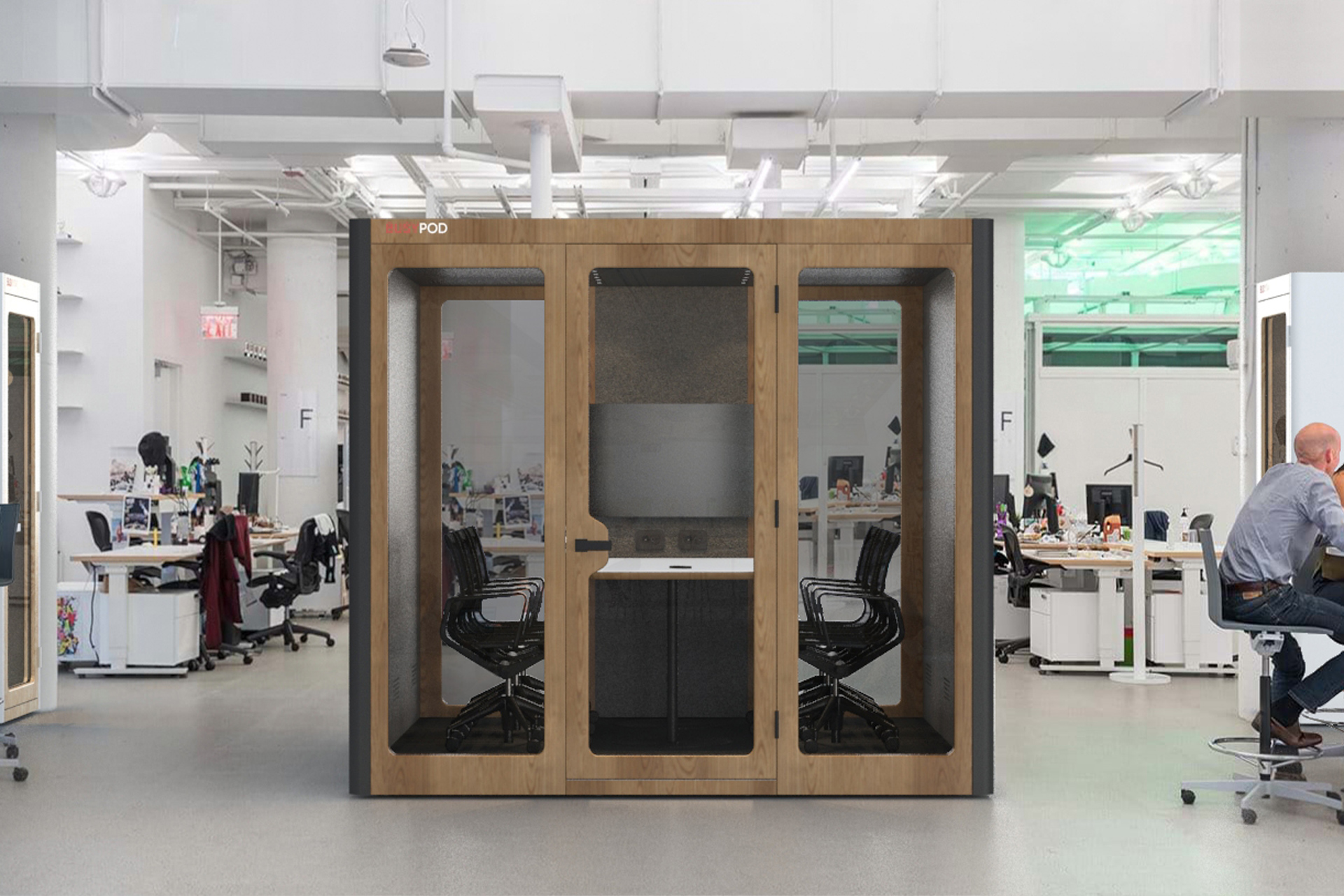 BUSYPOD XLarge, Dark Grey sides, Oak Frame in open working environment