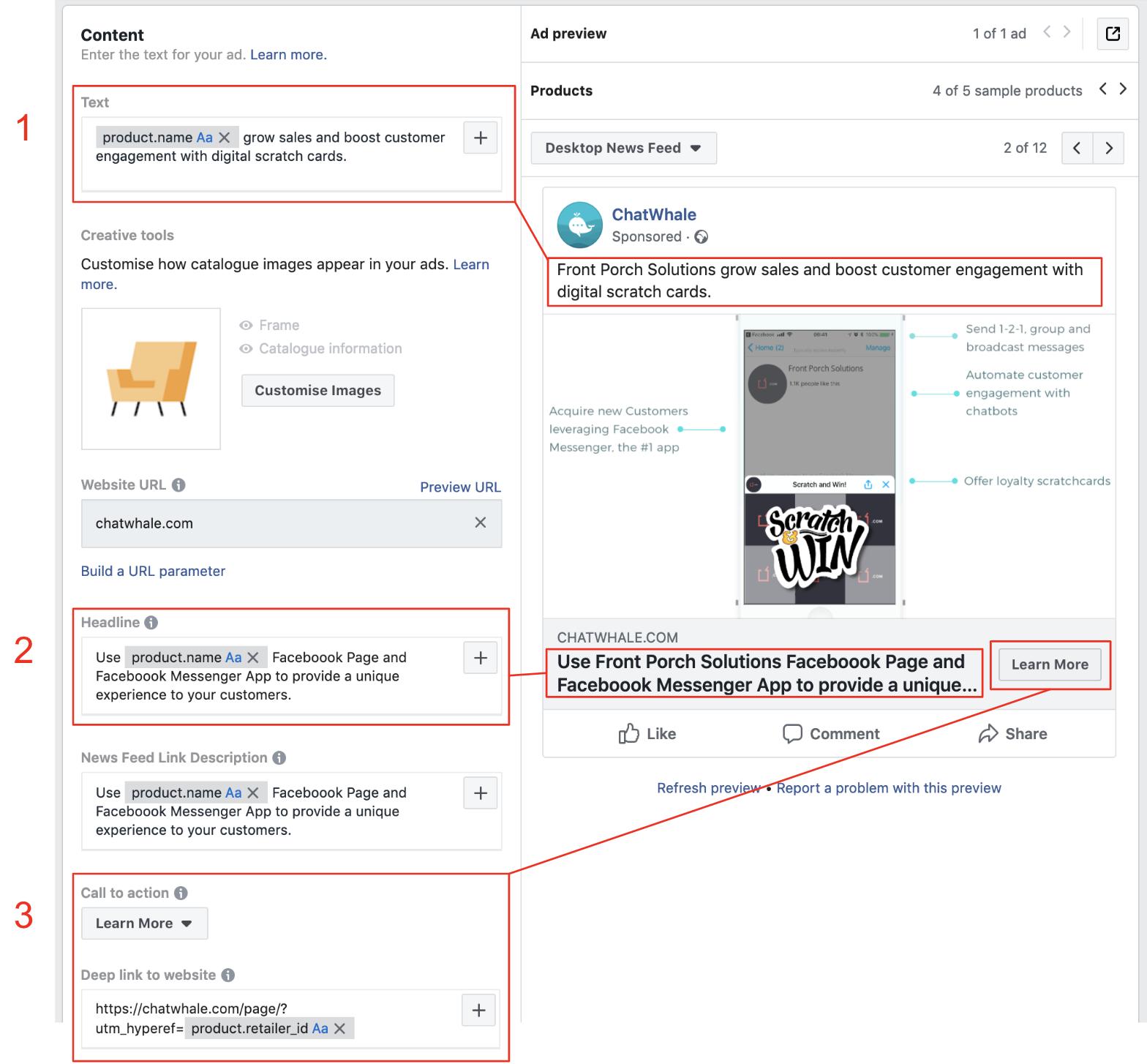 персонализация текстов и картинок в Facebook ремаркетинге