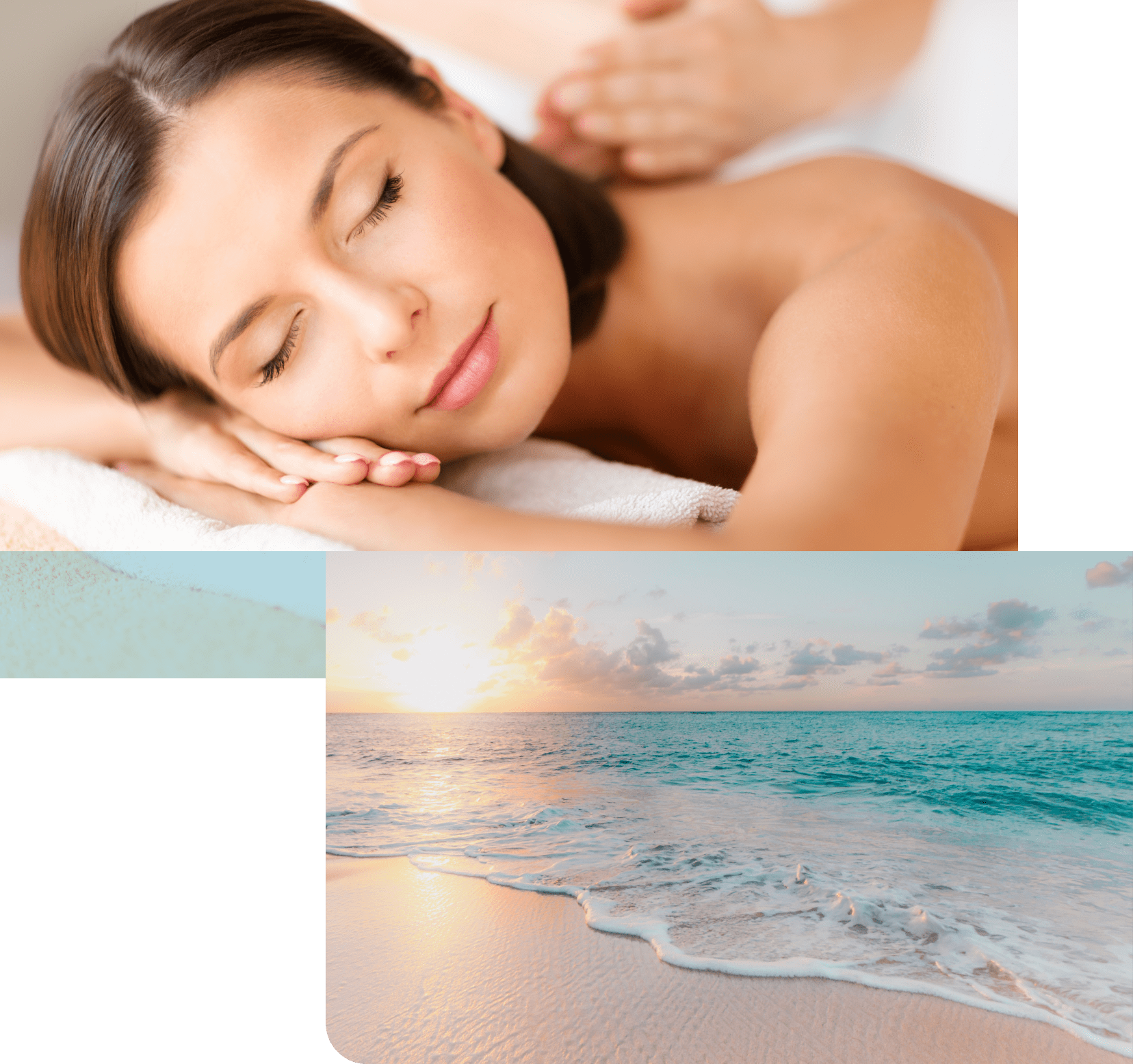 Image of lady getting massage and image of beach.