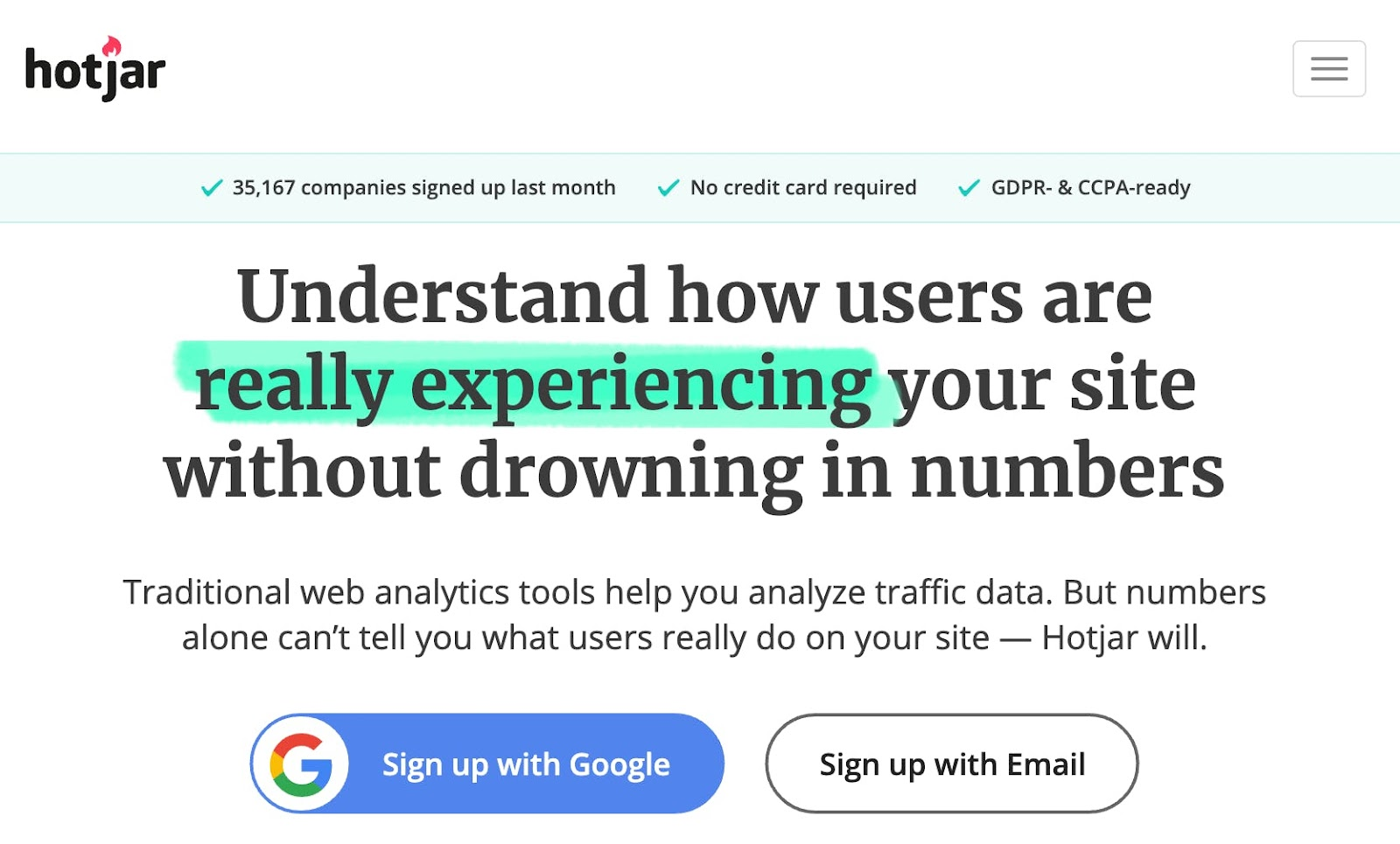 Hotjar's headline is an example of product narrative design
