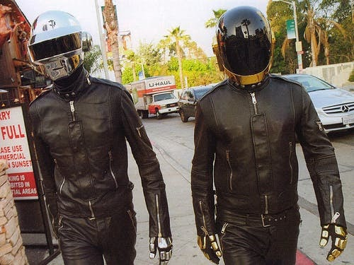 Daft Punk (excellent marketers) walking the street