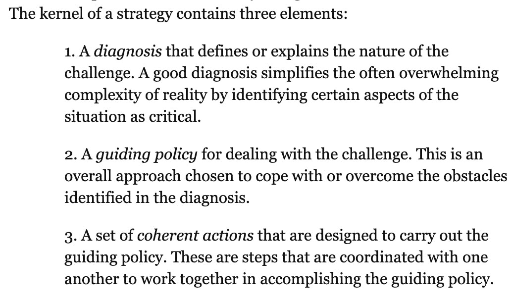 Avoid bikeshedding in marketing - follow the process of diagnosis, guiding policy, coherent actions