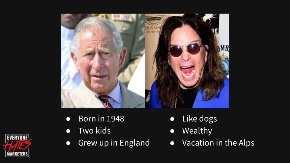 Prince Charles and Ozzy Osbourne share similar demographics but have different buyer personas