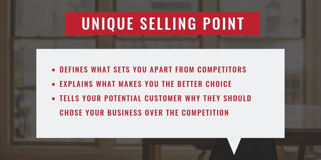 Use your unique selling point to convince people to buy from you rather than from competitors