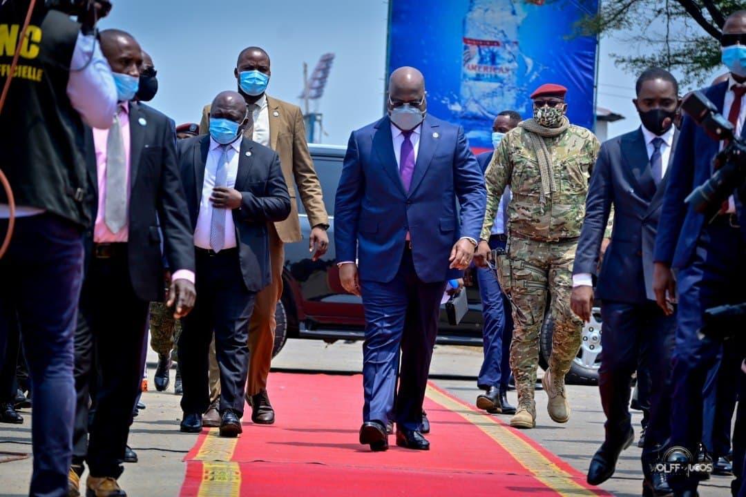 Félix Antoine Tshisekedi Tshilombo arrivant a la cérémonie d'ouverture