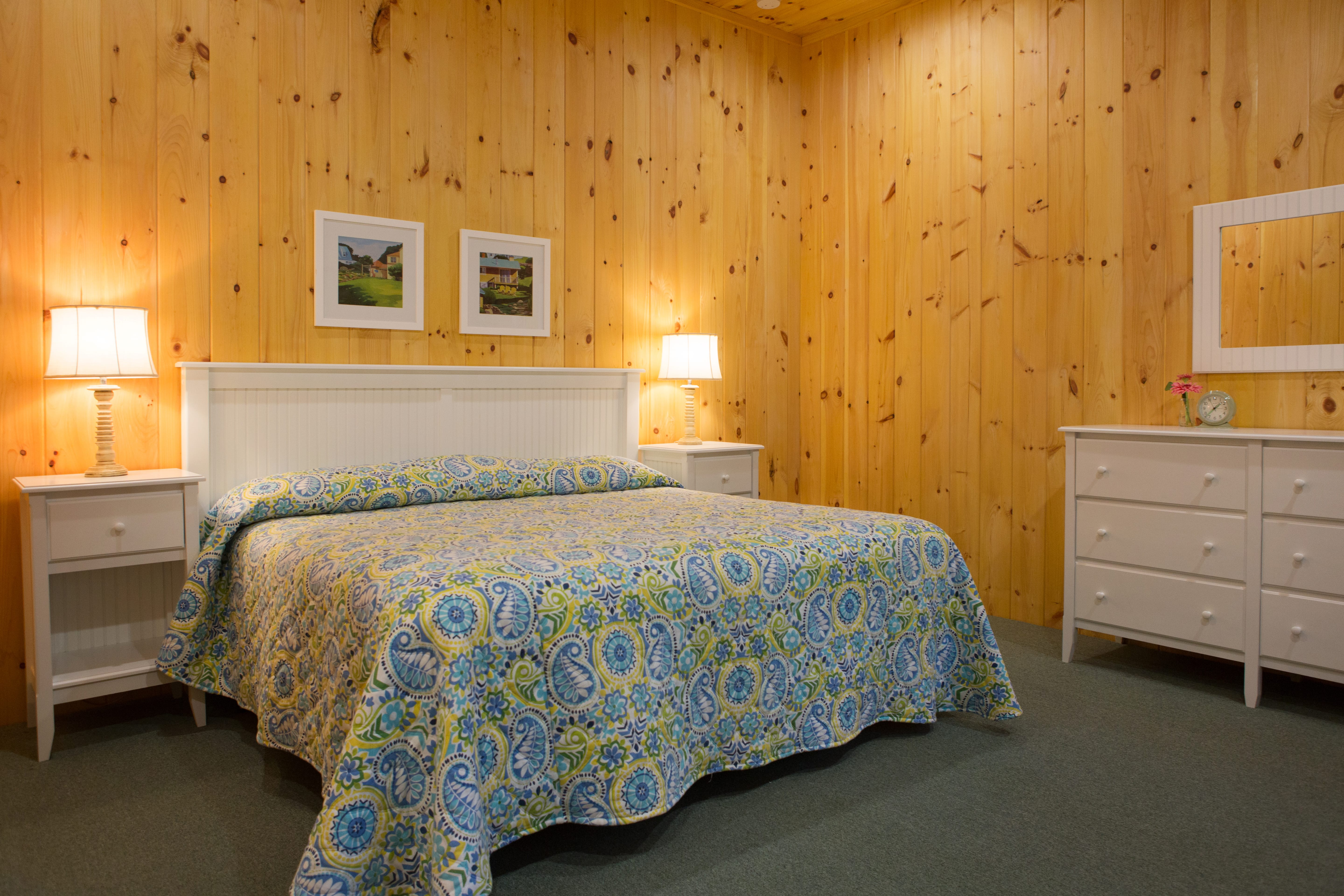 inside of lodge room showing bed
