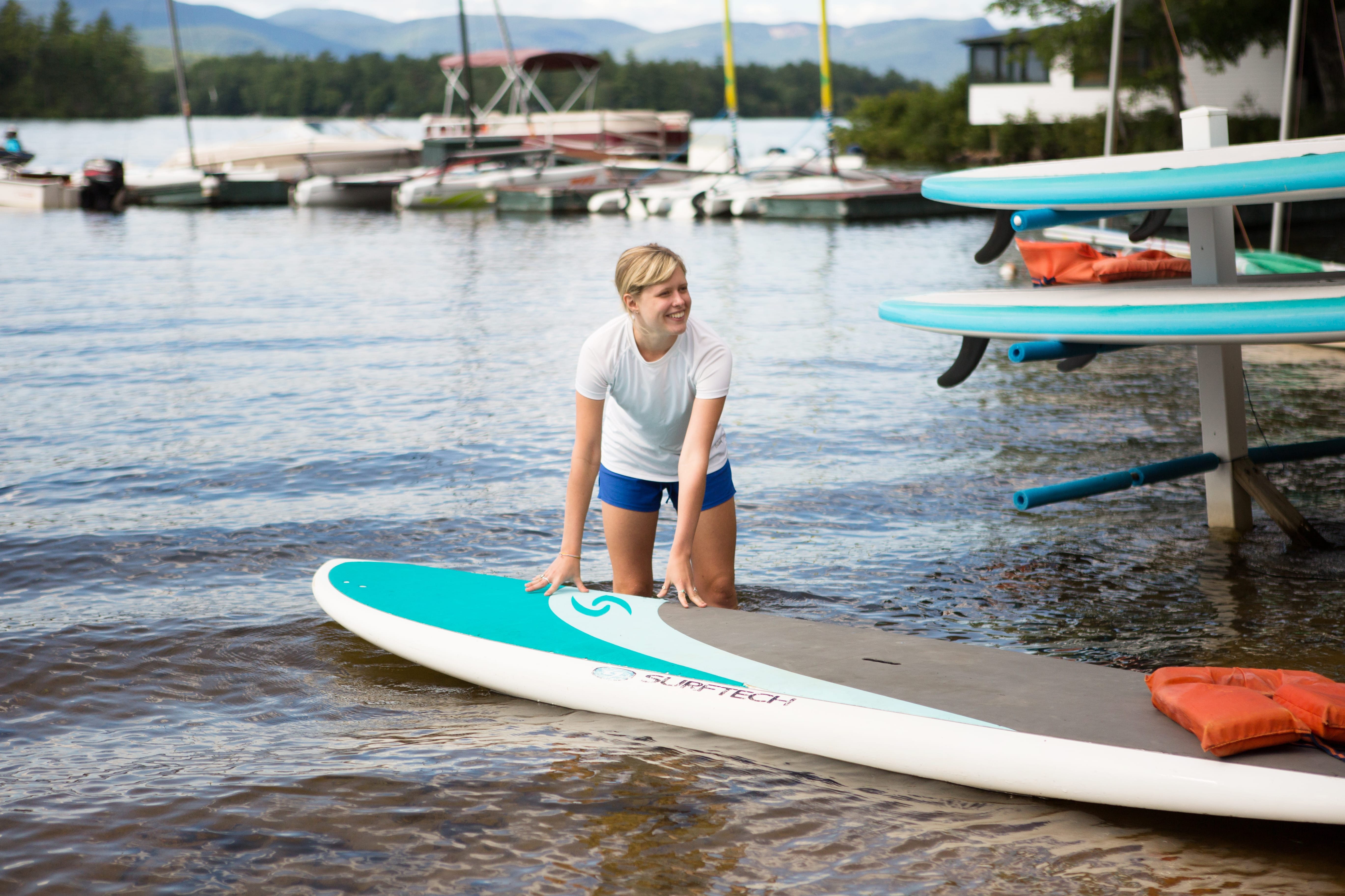 Girl with paddle board