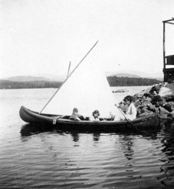 Vintage photo of Quisisana Resort canoeing