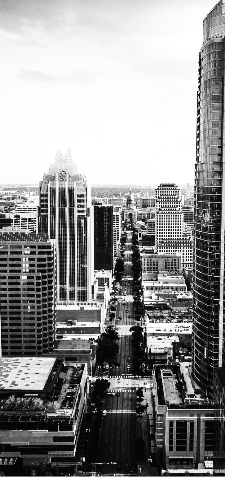 Black and white  vertical birds eye view of downtown Austin, Texas.