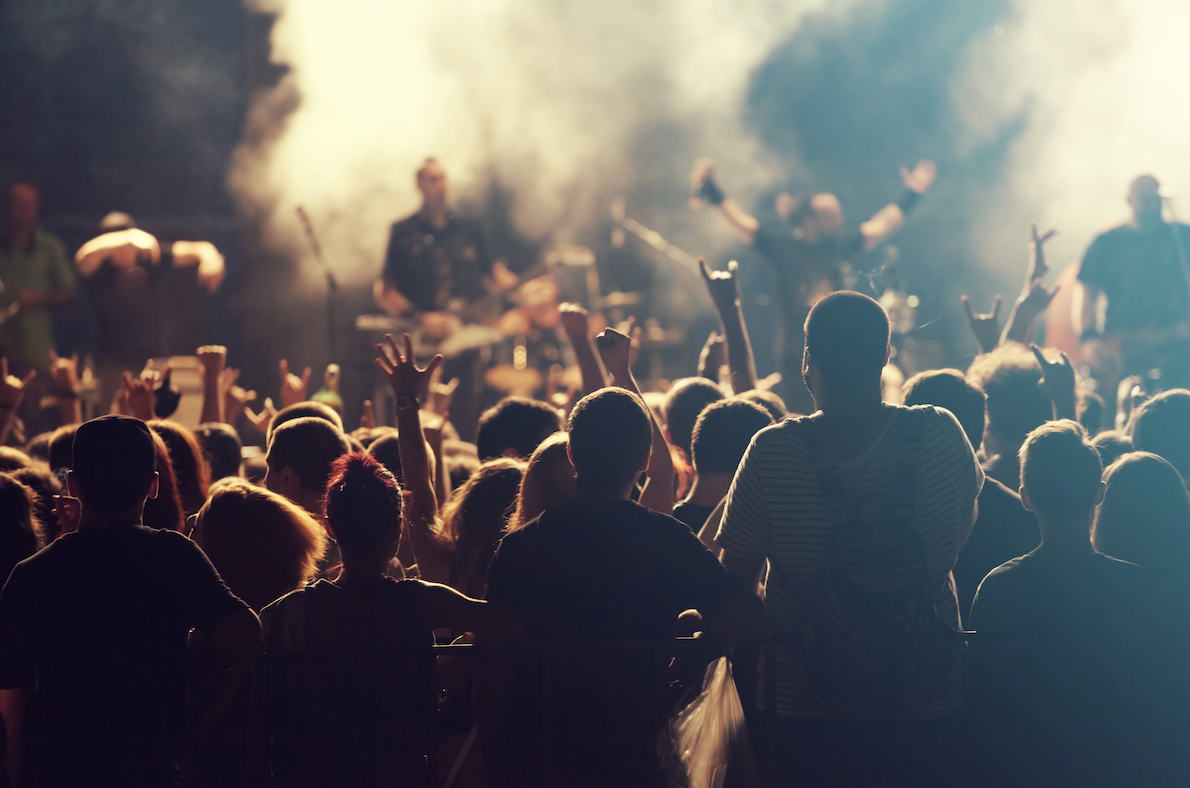 Image of Crowds of people enjoying a concert at night