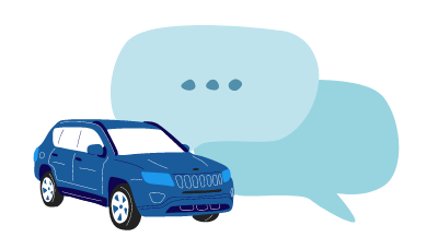 Car with a chat box