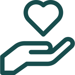 Outline graphic depicting hand nurturing a heart
