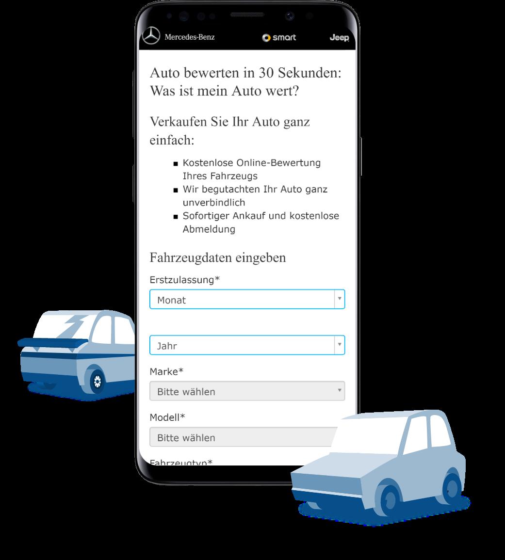 Screenshot App auf Smartphone mit Autos
