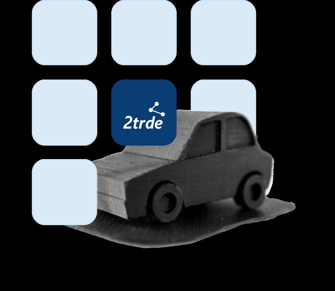 Illustration: App Symbole mit 2trde hinter einem Auto