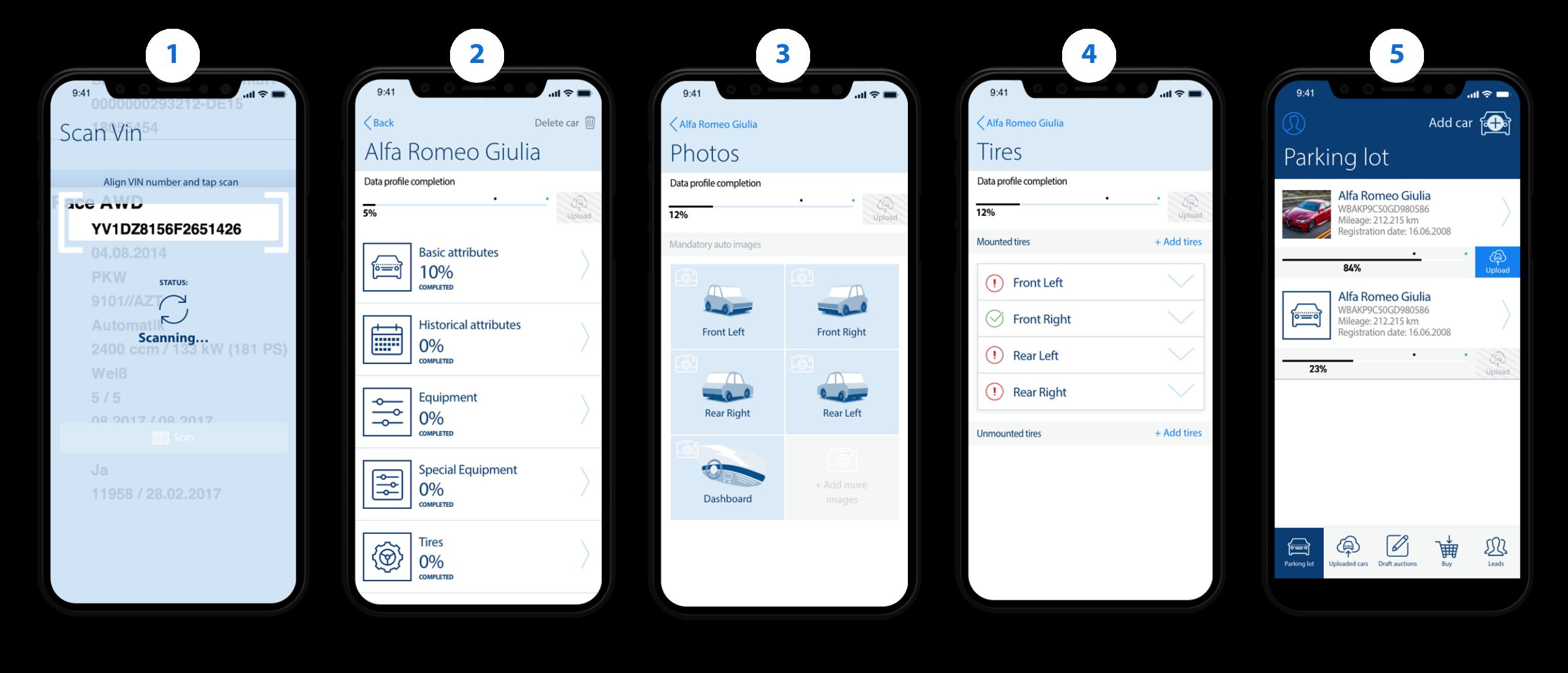 Prozess mit der Aufnahme-App per Smartphone