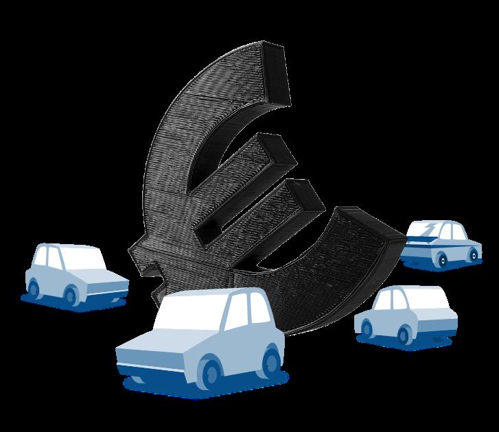 Illustration Autos vor einem € Zeichen