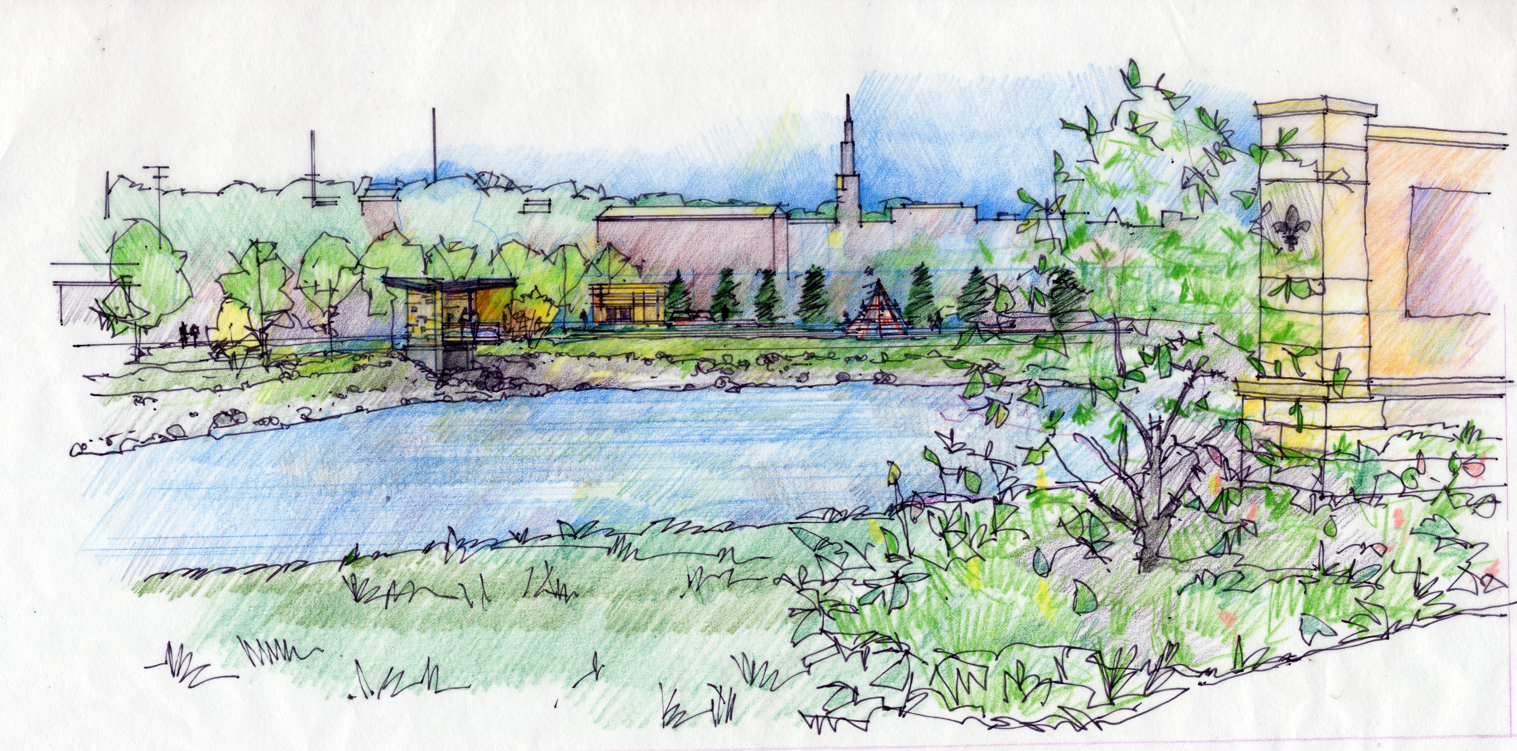 The project daylighted an existing storm sewer and created a linear corridor for stormwater management and conveyance that was envisioned as a useable and significant open space amenity for the neighborhood and City.