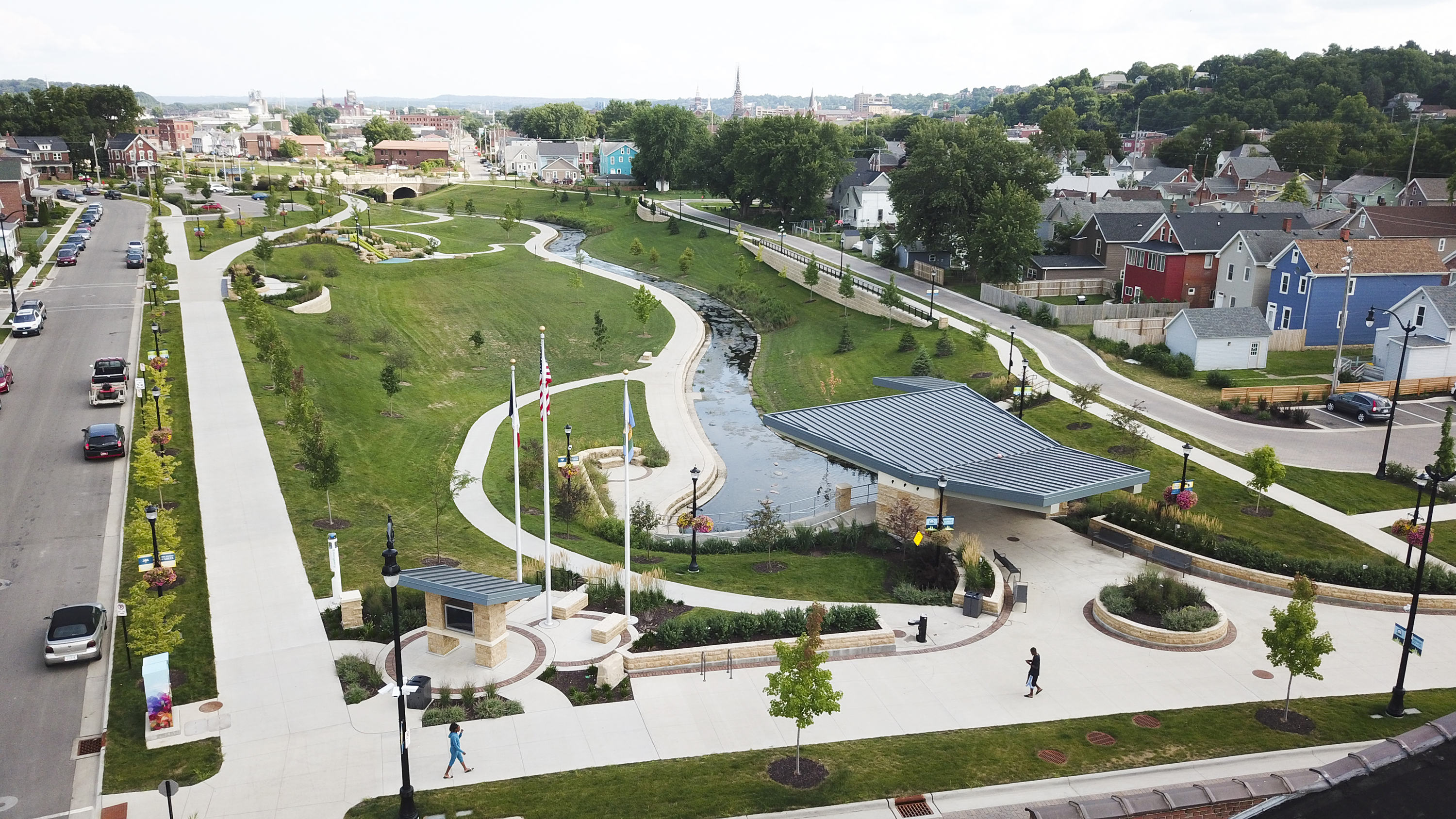 Oriented to overlook the Bee Branch Creek low-flow channel, the amphitheater embodies many of the project's goals and vision for multi-purpose, timeless spaces. The design team worked carefully to integrate accessible paths along with stairs and seating throughout the corridor.