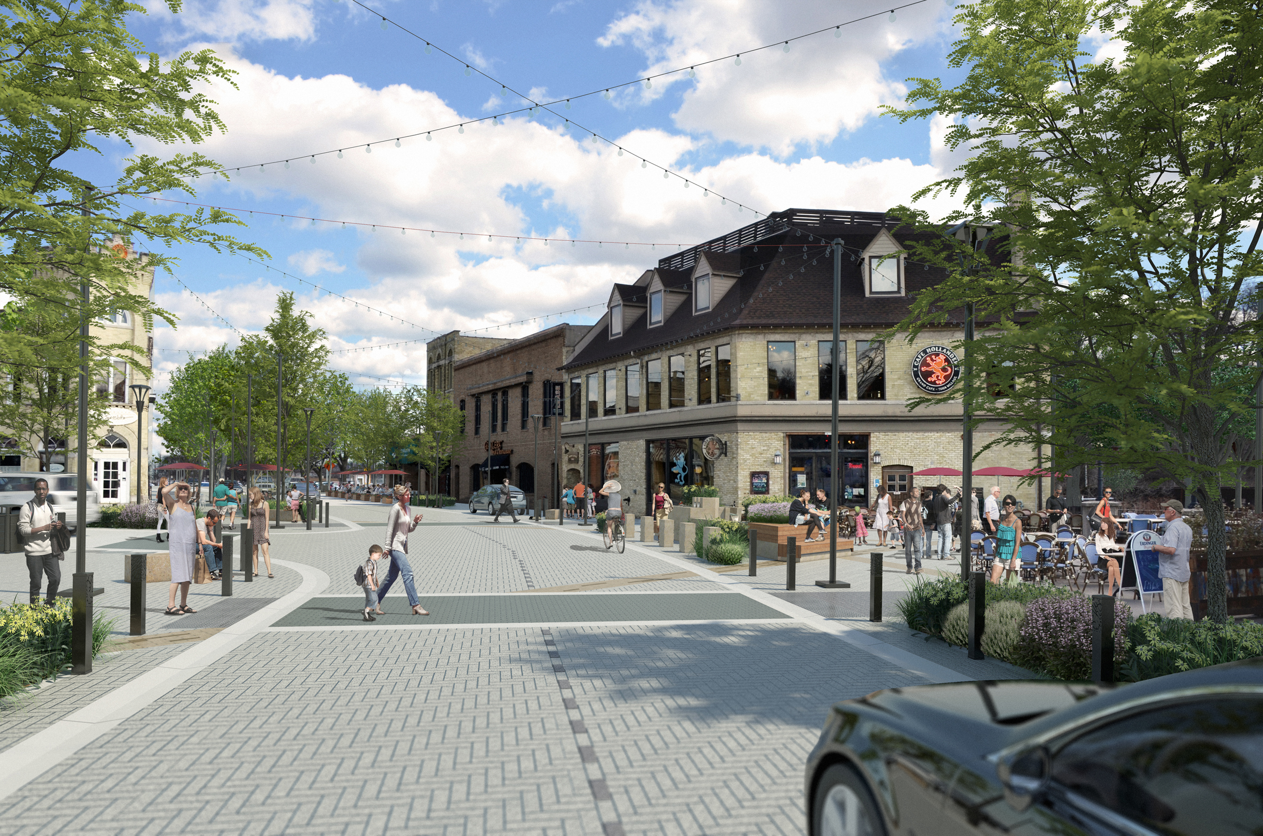 Careful attention was paid to the selection of streetscape materials that are compatible with architectural features in The Village as well as the natural elements found along the Menomonee River.
