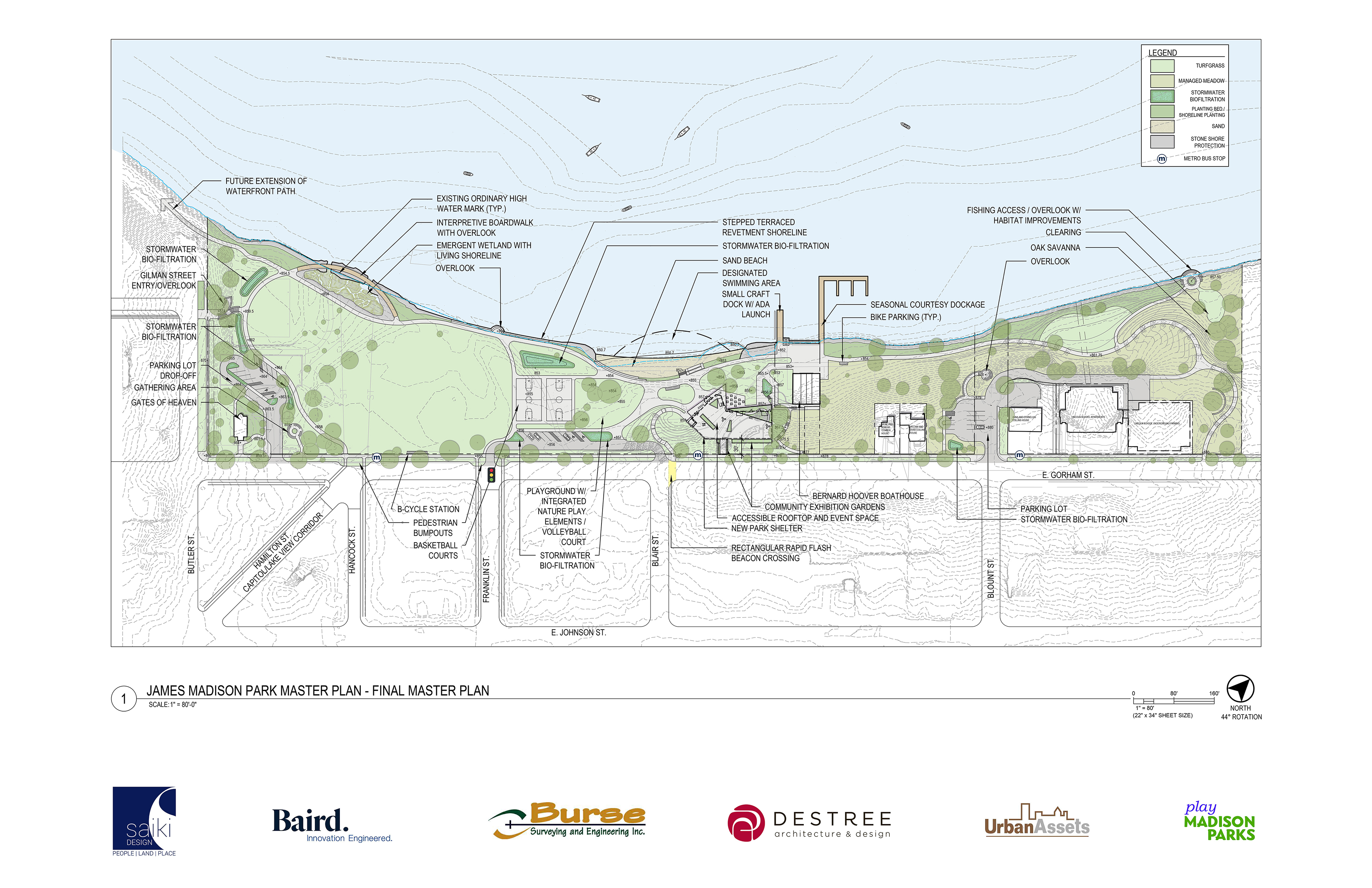 Located in the heart of the Isthmus, James Madison Park provides a destination for downtown residents and visitors alike. Its shoreline access to Lake Mendota is nearly unparalleled and it offers spectacular view and a peaceful atmosphere amid the vibrant downtown hustle and bustle.