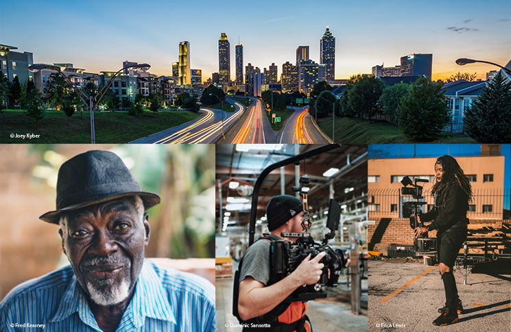 Image collage of Atlanta cityscape, Gio and people using camera equipment