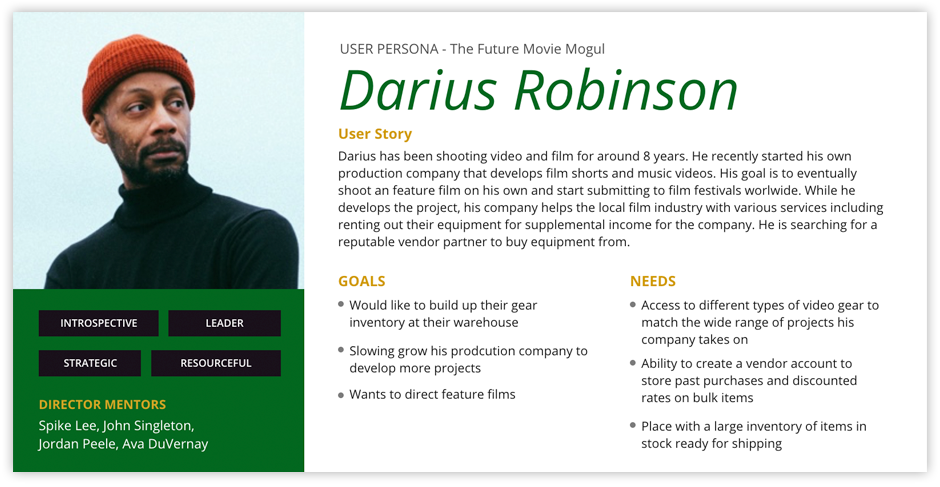User Persona 2 - The Future Movie Mogul