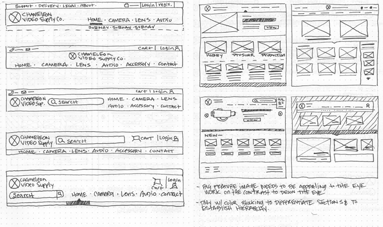 Sketches of Chameleon Video Website focusing on the Navbar and Product page