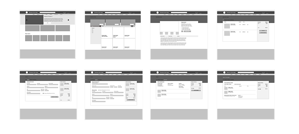 Greyscale Wireframes for the website