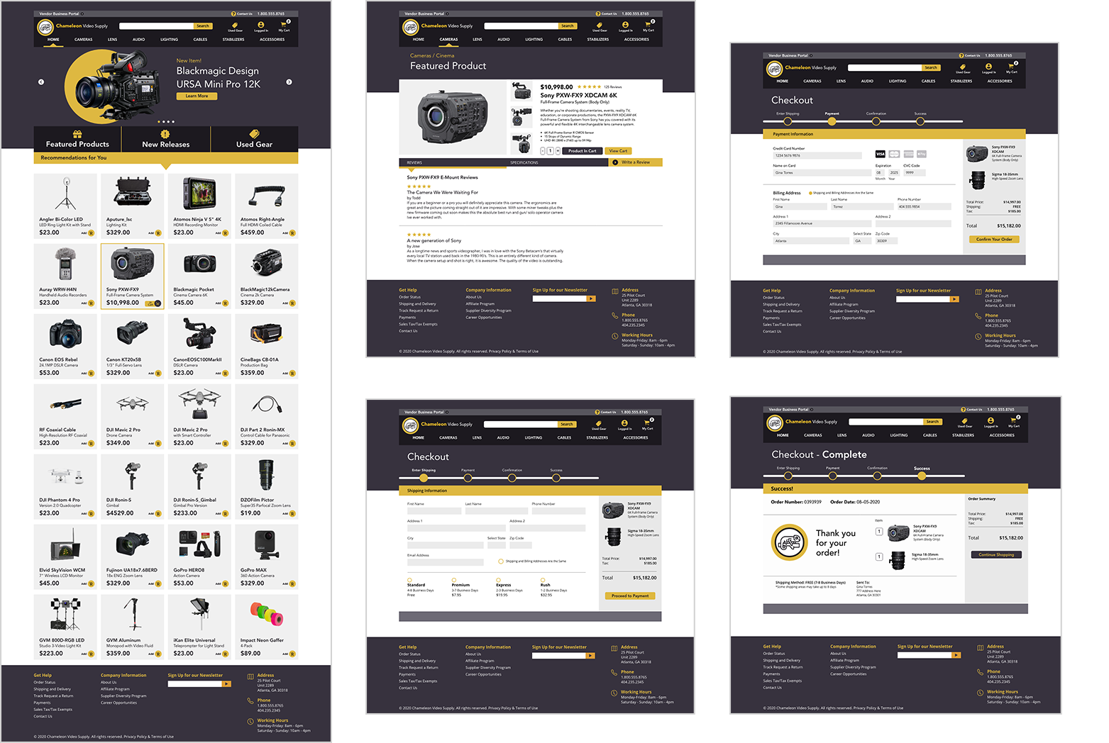 High fidelity wireframes of Homepage, featured product, and checkout of website