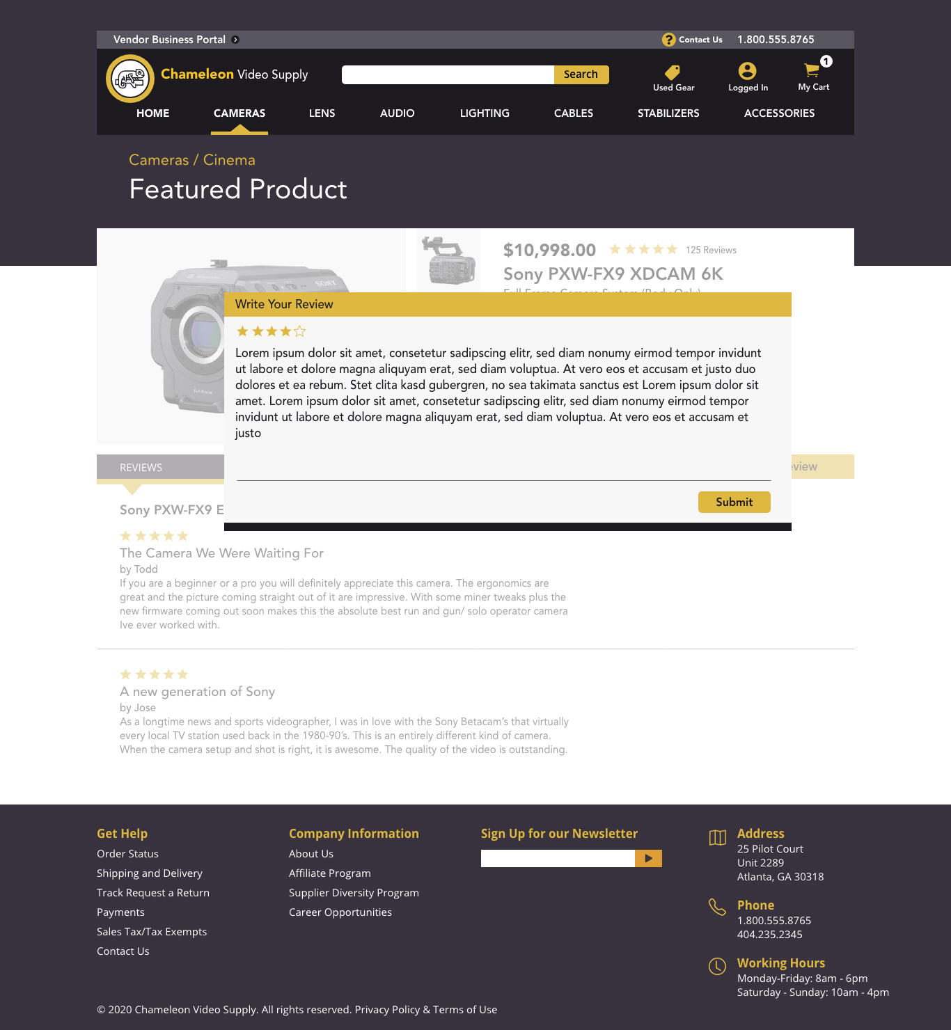 Review screen page from the feature product section
