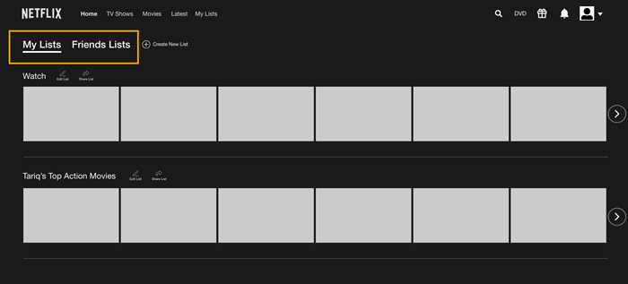 Wireframe for A/B Testing showing MyLists and Friends List tabbed navigation side by side