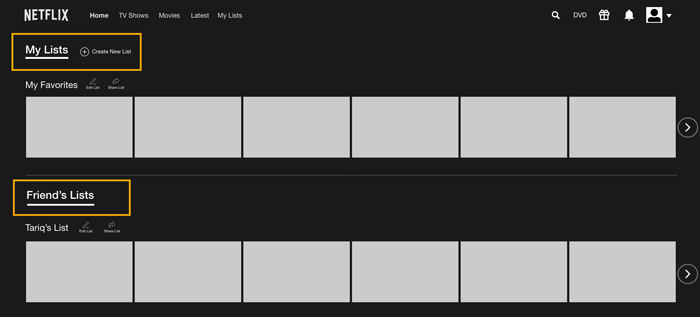 Wireframe for A/B Testing showing MyLists and Friends List tabbed navigation separated