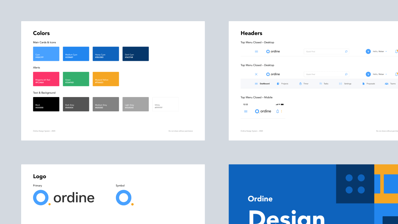 Design system for Ordine