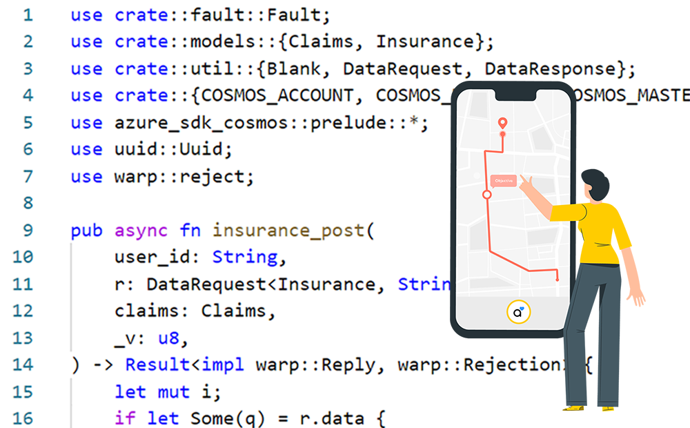 API AssistMe rust code woman point smartphone map
